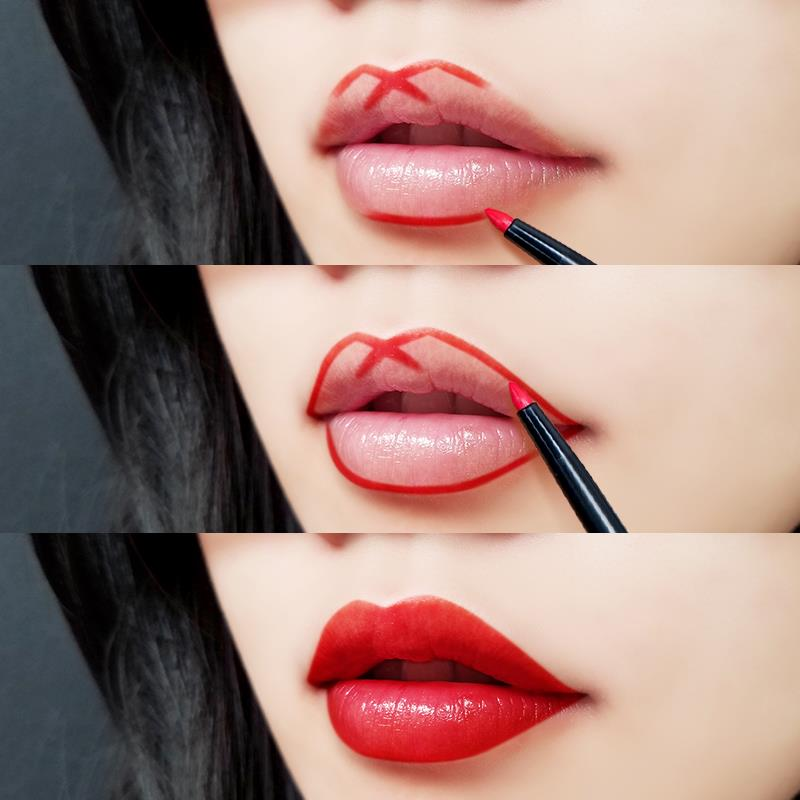 Bước 2 tô son cho môi thâm - Dùng chì kẻ môi