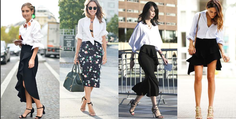 Áo sơ mi trắng kết hợp với váy đen